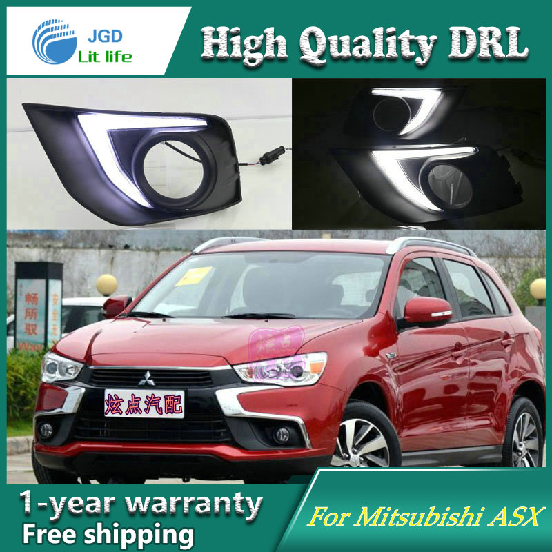 Free shipping !12V 6000k LED DRL Daytime running light case for Mitsubishi ASX 2016 fog lamp frame Fog light Car styling free shipping 12v 6000k led drl daytime running light case for subaru wrx 2015 2016 fog lamp frame fog light car styling