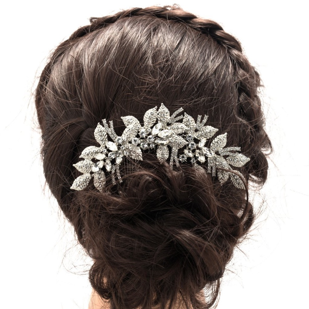 2017 new fashion leaves flower wedding hair comb clear rhinestone