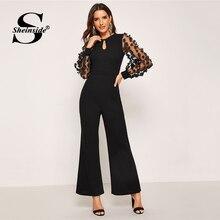 Black Applique Sleeve Long Jumpsuit