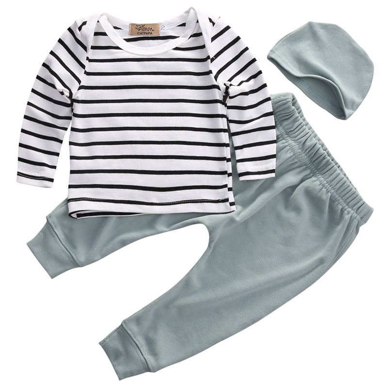 New Casual Newborn Baby Boy Girl Long Sleeve Striped O-Neck Tops +Long Pants Hat 3PCS Outfits Set Clothes