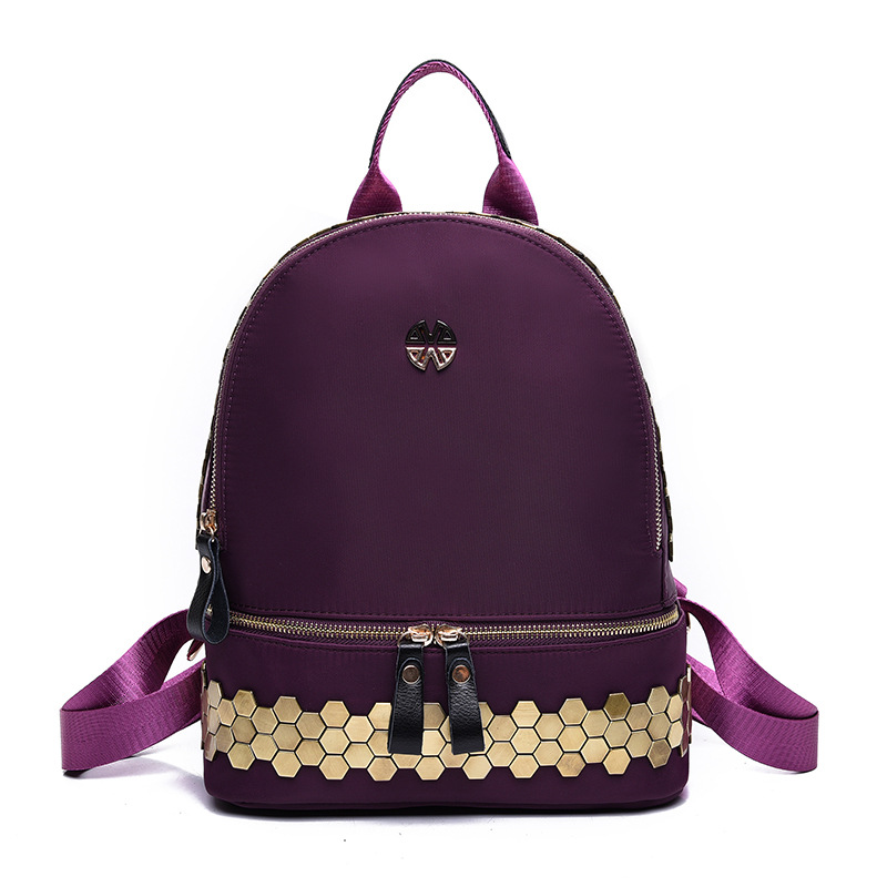 ФОТО 2016 new women Backpack rivets sequins Nylon Backpack ladies fashion trends in Europe and America all-match designer backpack
