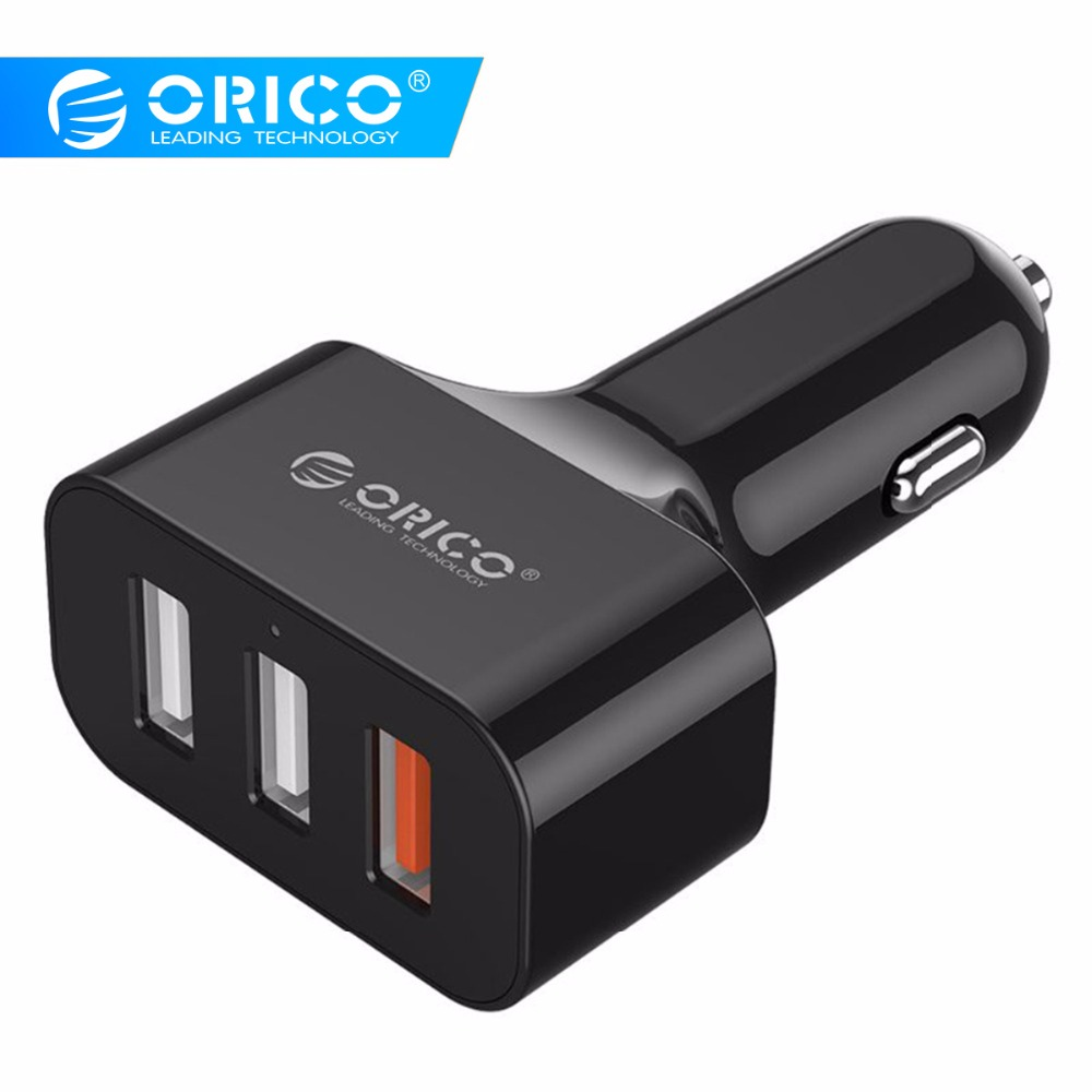 ORICO Car USB Charger Quick Charge 2.0 Mobile Phone Charger 3 Port USB Fast Car Charger for iPhone Android Samsung Xiaomi Tablet Зарядное устройство