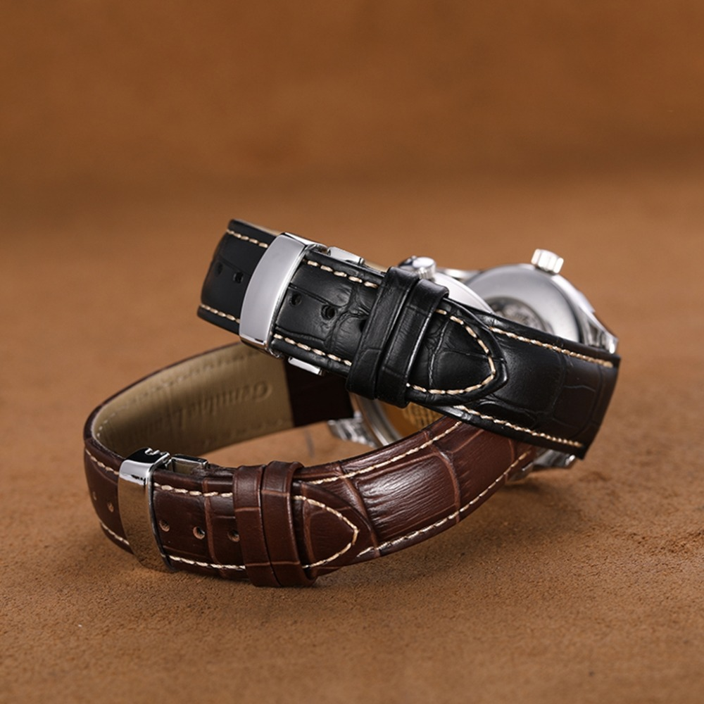 Image 5 - 18mm 19mm 20mm 21mm 22mm Genuine Leather Watchband Alligator Grain Pull Deployment Clasp Watch Band Strap For Omega Tissot Oris-in Watchbands from Watches