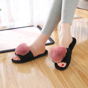 BODENSEE Women Slippers Women Love Heart Cotton Slippers Winter Non-Slip Floor Home Furry Slippers Women Shoes For Bedroom 1