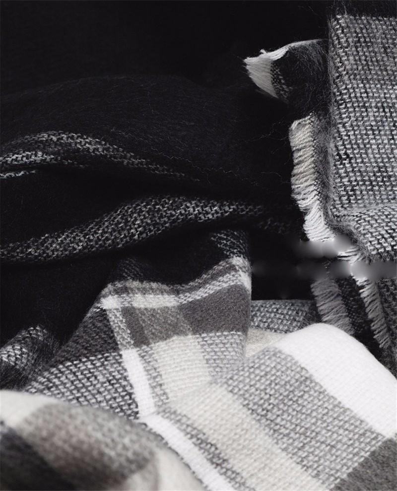 Black White Plaid Scarf | Blanket Scarves