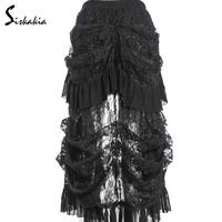 Siskakia 2017 Multilayer Lace Long Skirt Victorian Costumes Gothic Steampunk Clothing Sexy Skirts For Women Matching