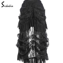 Siskakia Multilayer Black Lace long Skirt Victorian Costumes Gothic Steampunk Clothing Sexy Skirts For Women Matching Corset 4XL