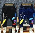Frete grátis, 2017 primavera outono novos meninos jeans, pintor graffiti calças buraco calças de brim, crianças's calças 2-6years