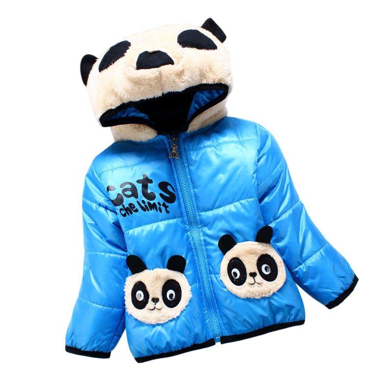 Toddler Baby Kids Boy Coat Hooded Jacket Panda Cartoon Winter Cotton Outwear S2