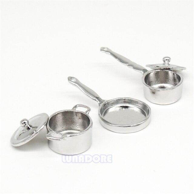 Odoria 1:12 Geschirr Miniatur 3 STÜCKE Pfanne Kessel Set Küche ...