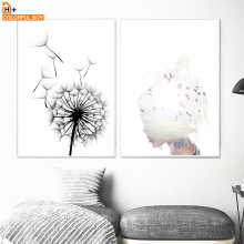 COLORFULBOY Girl Birds Dandelion Wall Art Print Canvas Painting Nordic Poster Abstract Pictures For Living Room Decor
