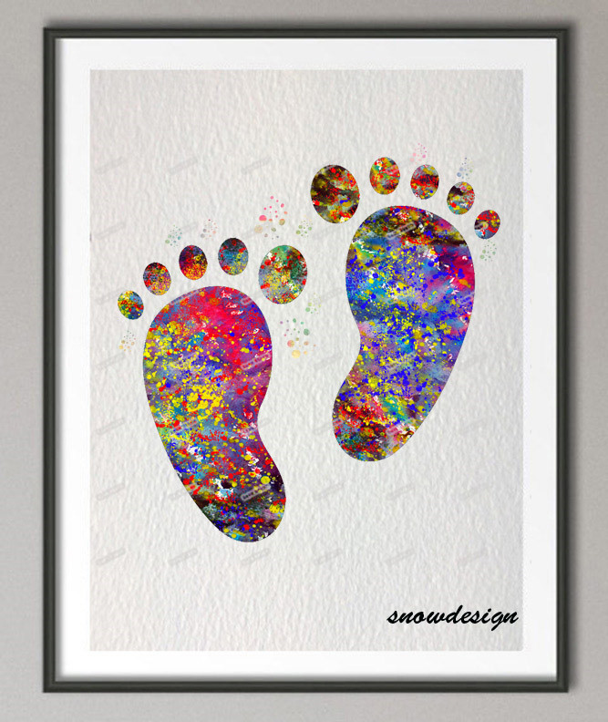 Buy DIY Original Watercolor Baby Feet Wall Art Canvas Painti