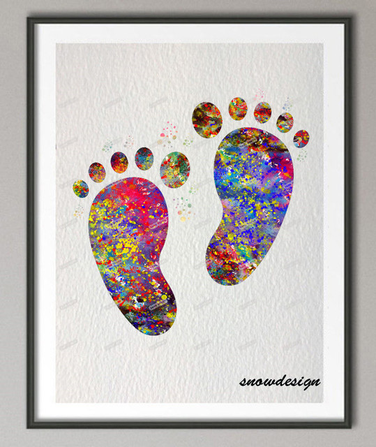 Diy Original Watercolor Baby Feet Wall Art Canvas Painting Baby