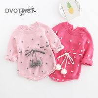 Dvotinst Newborn Baby Girls Clothes Knit Crochet Full Sleeves Bodysuit Dot Cherries OutfitsToddler Jumpsuit Clothing Costume