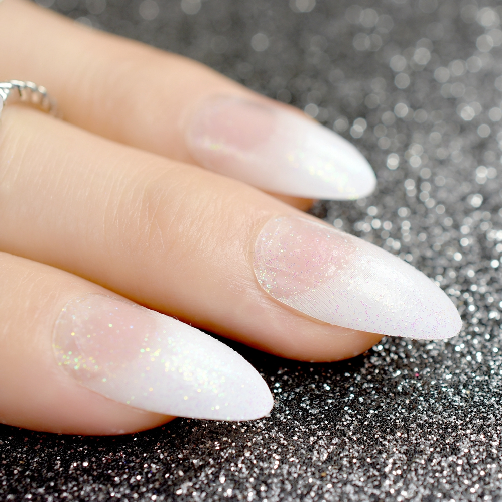 24pcs Pointed White French Nails Sparkly Glitter Decoration Medium ...