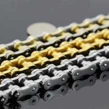 Silver/Gold Free shipping! Heavy Motor Biker Bracelet Stainless Steel Jewelry Bicycle Chain Motorcycle Men Bracelet