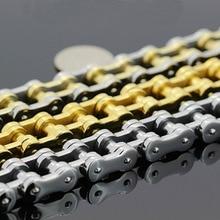 Silver/Gold Free shipping! Heavy Motor Biker Bracelet Stainless Steel Jewelry Bicycle Chain Motorcycle Men Bracelet