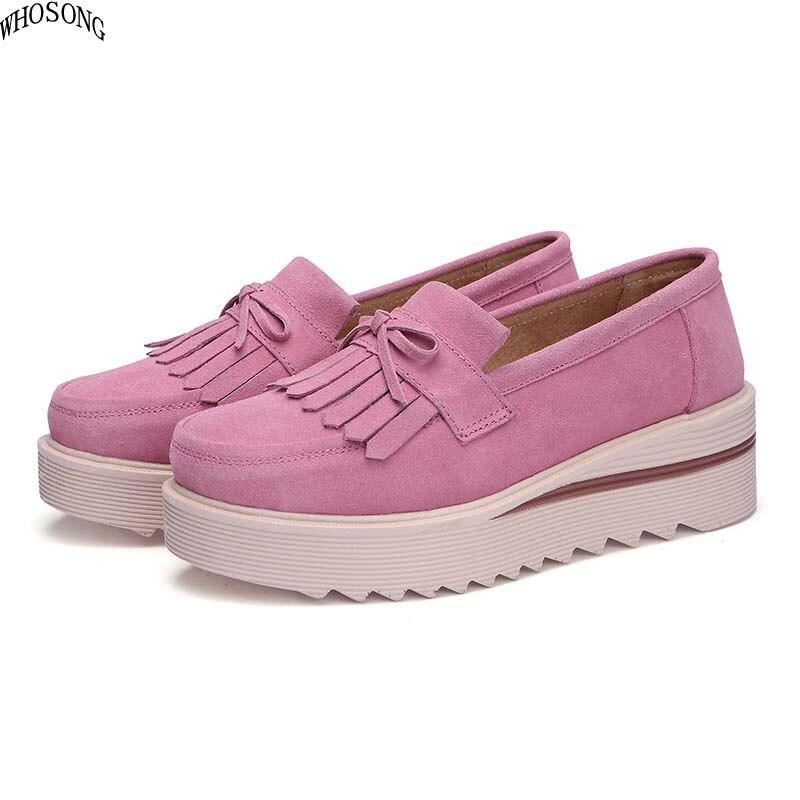 AGUTZM 2019 women flats women tassel platform shoes ladies   leather     suede   casual shoes slip on flats Creepers footwea M02