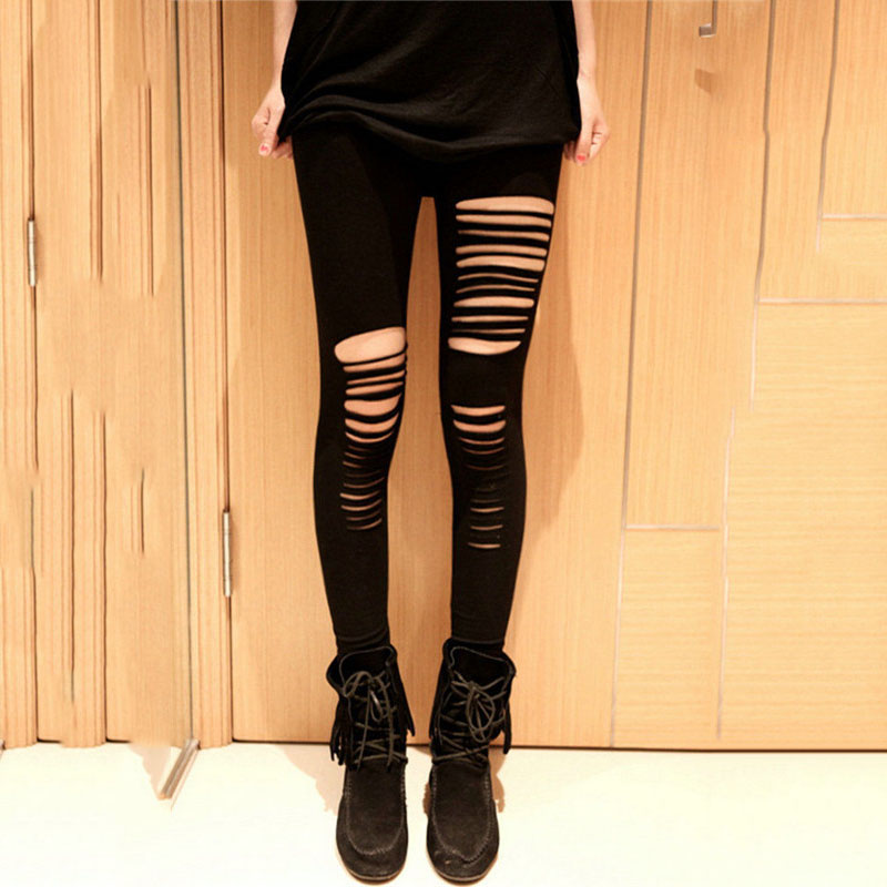 Autumn Stylish Women's Goth Punk Slashed Ripped Cut Out Hollow Solid Split Side Stretchy High Waisted Full Length Pants Leggings