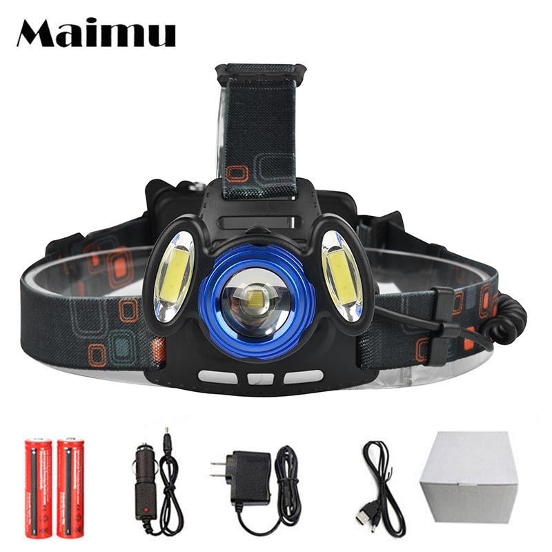 Maimu Bright USB LED Headlamp T6 Led+2 COB solar Light Headlight 4 Modes 18650 Cycling headlight Rechargeable Zoom Headlamp D17 maimu 8000lm usb power led headlamp cree xml t6 3 modes rechargeable headlight head lamp torch for hunting 18650 head light d14
