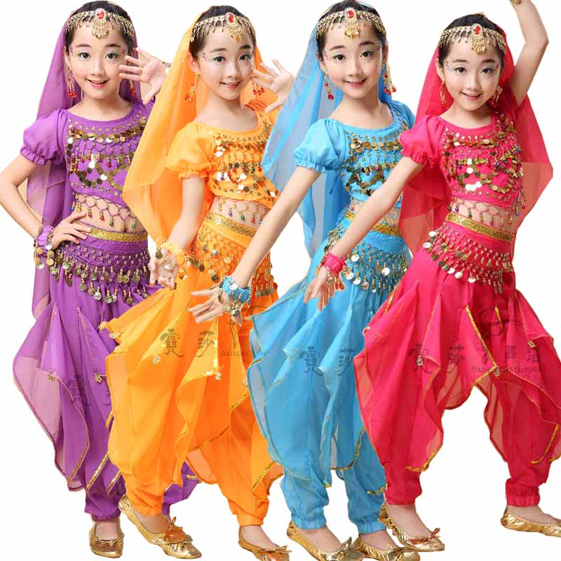 4 pieces Sequined Girls Belly Dance Costume Bollywood Indian dancing Dress Dancing For Girls Ballroom Performance dancing Outfit индийский костюм для танцев девочек