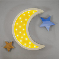 Wooden Moon Led Night Light For Kids Toy Gift Wall Lamp Bedside Bed Room Living Room