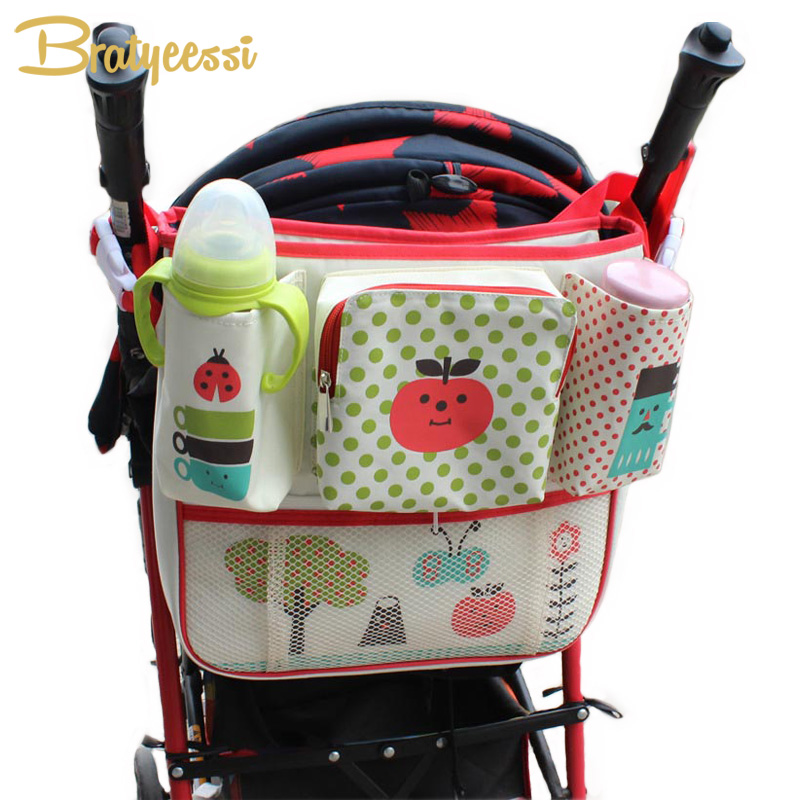 Multifunction Crib Stroller Organizer Bag for Baby Carriage Prams Cartoon Oxford Baby Stroller Mother Bag Accessories
