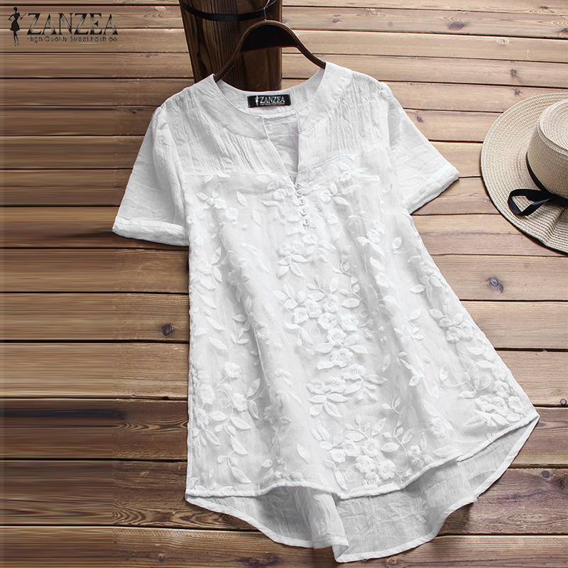 2018 Plus Size ZANZEA Summer Casual Women Solid V Neck Short Sleeve Embroidery Floral Loose Irregular Party   Blouse     Shirts   Tops