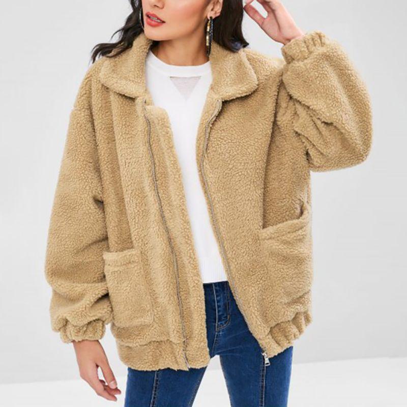 Winter Autumn Women Faux Fur   Coat   Fashion Fleece Faux Fur   Coat   Lady Outwear Warm Zipper Casual Women's Jackets With Pocket