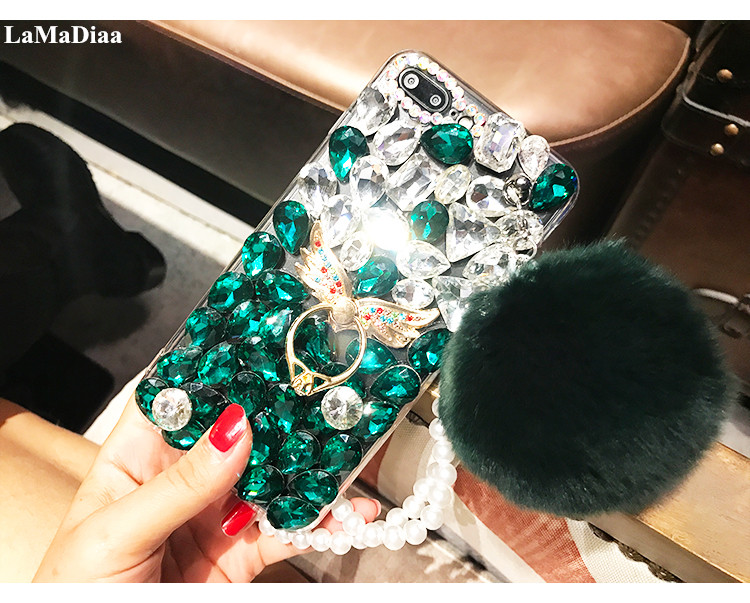 2016 17 Rhinestone Cases Fashion Design Luxury Diy Bling Crystal Diamond Rhinestone With Fur Ball Tassel Case Cover For Samsunga3 A5 A7 J3 J5 J7 Cellphones & Telecommunications