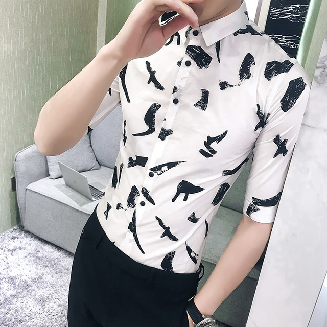 a0a0ea9774c High Quality Men Print Shirt Fashion 2018 Korean Slim Fit Tuxedo Shirt Men  Half Sleeve Hairstylist Work Shirts Mens Blouses 3XL