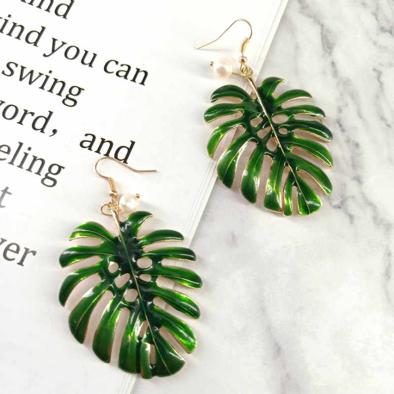 Boho Vintage Tropical Leaf Drop Earrings For Women Jewelry Statement Green Enamel Coconut Leaf Dangle Earrings Mujer Bijoux