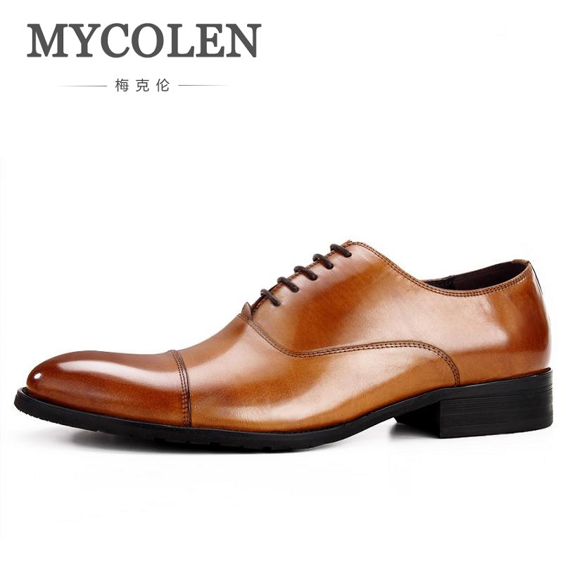 MYCOLEN 2018 New arrive Spring Men Casual oxfords Dress Shoes British Style Lace-Up Pointed Toe Man Shoes Chaussure Cuir Homme british style men real leather brouge shoes boys new spring zip retro casual shoes craved wing tips flat man oxfords