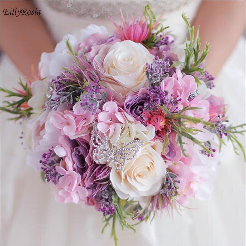 Nouveau beau Bouquet de mariage Rose violet fait à la main fleur de mariée artificielle hortensia pivoine Rose papillon broche Bouquets