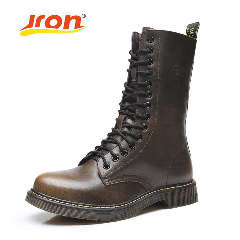 Jron Large Size 39-48 Genuine Leather Motorcycle Boot Men Military Mid Calf Boot Shoe Men Winter Boots Botas Tacticos Zapatos keen men s briggs mid wp chukka boot