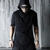 Mens Clothing Male Casual Half Sleeve Rope Tees Black Slim Tshirt 2016 New Hooded T Shirts