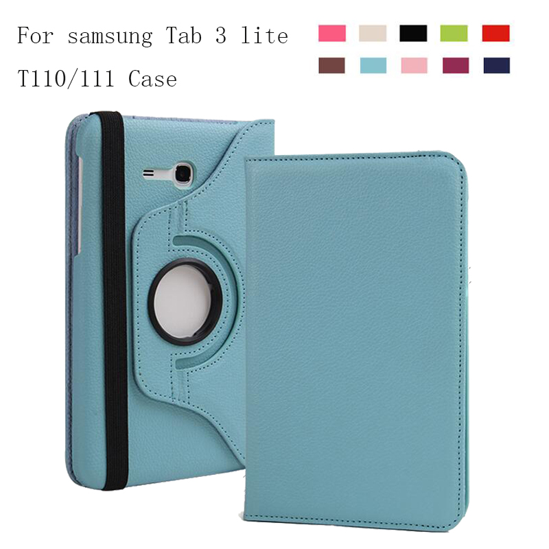 360 Rotating PU Leather Stand Case Cover For Samsung Galaxy Tab3 7.0 Lite T110 T111 Tablet case For Samsung T113 T116 360 degree rotating stand smart pu leather cover case for samsung galaxy tab 3 lite 7 0 t110 t111 t113 t115 t116 tablet film pen