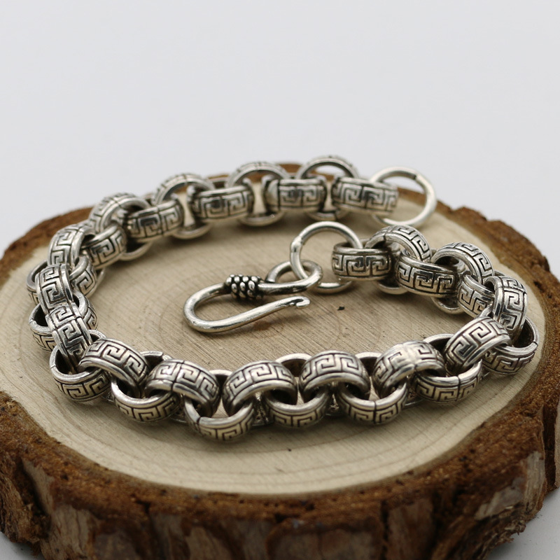 Fashion Characters S925 Sterling Silver Thick Domineering Mature Men And Women Retro Thai Silver Jewelry Vinatge Bracelet Homme s925 sterling silver silver bracelet retro fashion jewelry made of old men and women
