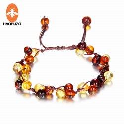 Haohupo bebê adulto âmbar pulseira tornozeleira melhor natural jóias presentes para senhoras meninas artesanal multi cor strand bijoux