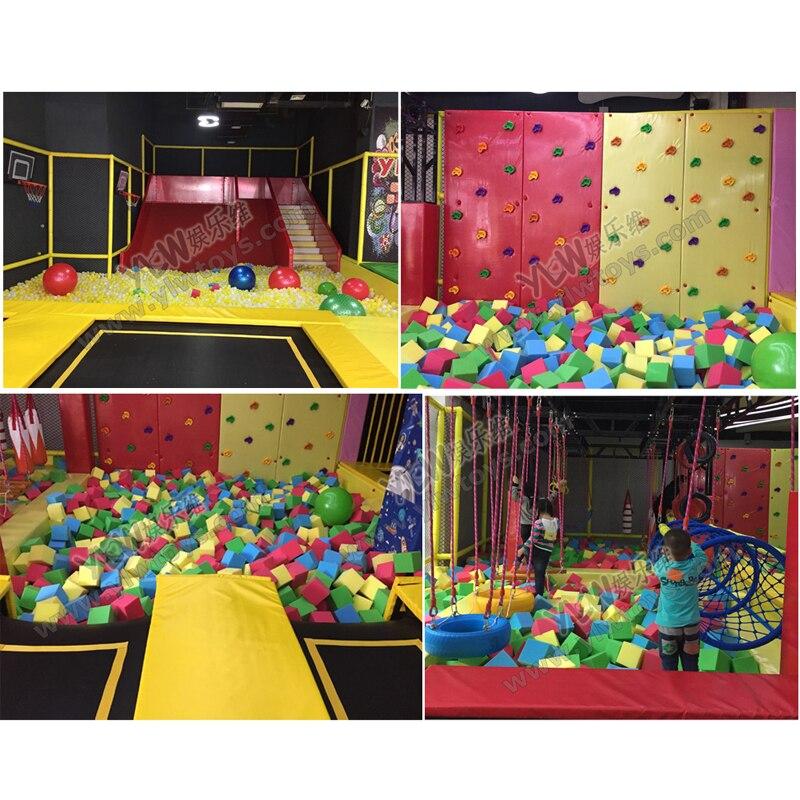 Dostosowane trampolina park ściana wspinaczkowa kryty plac zabaw gąbka pit wojownik ninja YLW-BT190416