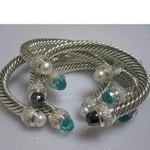 Sterling Silver Jewelry 7mm Aqua Chalcedony Cable Bracelet Brand Prasiolite  Smoky Quartz Turquoise Women