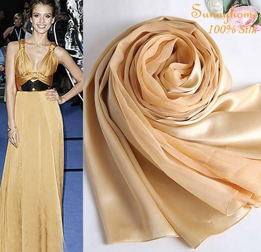 Aztec womens fall fashion jersey hijabs100% satin silk gold scarves and shawls New style champagne large size silk pashmina