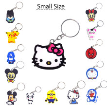 SUTI cute Anime Silicone pikachu hello cute kitty keychain Key chain Cartoon batman Spider Man cute key ring surper man keyring(China)
