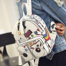Новый Сезон Дизайн Мультфильм милый маленький черный рюкзак Кистями женской моды и Случайные Опрятный Стиль для Подростков Школьная сумка