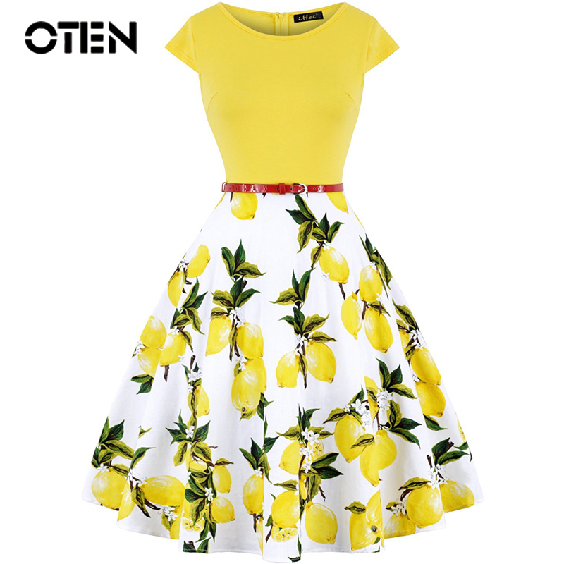OTEN Summer Women Vintage Retro 50s 60s Cap Sleeve O Neck Floral Flower Lemon Printed Rockabilly Pin up skater dress casual New