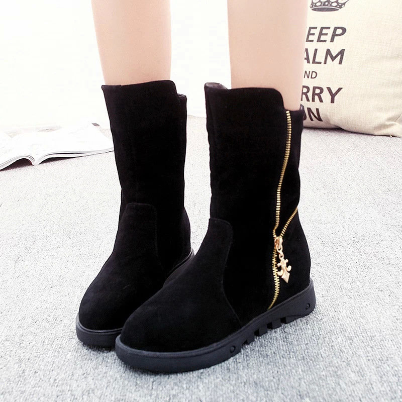 LELE 2017 fashion Women mid calf Boots winter  Platform snow Boots with fur warm zipper ladies shoes Bottes Femmes Zapatos Mujer 2017 women shoes snow boots waterproof fur warm winter mid calf boots woman with zippers platform wedges high heel botas mujer