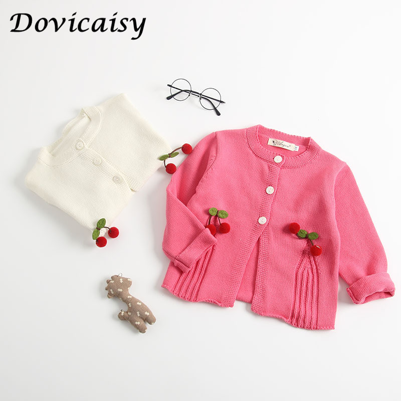 Baby girls  Knitting Cardigan Winter Warm Newborn Infant Sweaters cherry  Long Sleeve Hooded Coat Jacket Kids Clothing Outfits