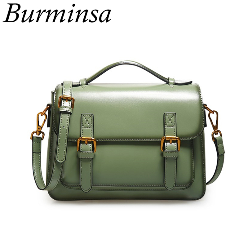 Burmins Summer Small Genuine Leather Women Messenger Bags Vintage Ladies Handbags Unique Design Shoulder Bags For