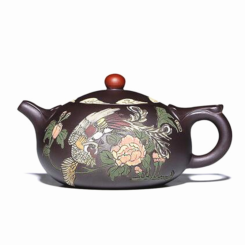 Handmade Purple Clay Material Teapot Peony Phoenix Pattern Chinese Good Quality Tea Pot For Gift Food Processor Tool Teapot c pe097 super chinese green food puer tea fuding white tea cake 350g sessile silver needle natural herbal white peony bag