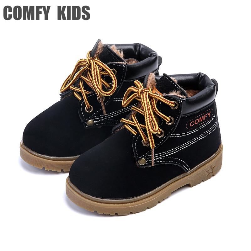 Kızlar Için rahat çocuklar kış Moda Çocuk Deri Kar Botları Boys Sıcak Martin Çizmeler Ayakkabı Rahat Peluş Çocuk Bebek Yürüyor ayakkabı